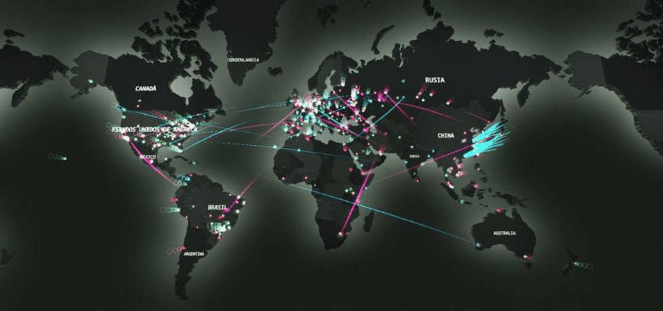 Mapa mundial ciberataques