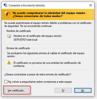 Conexión a escritorio remoto