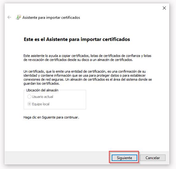 Asistente para importar certificados