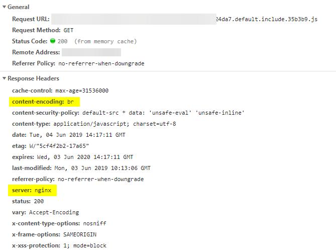 Captura de los headers de una petición servida con esta solución, los resaltados incluyen la codificación del contenido 'br' y el servidor 'nginx' que la sirve