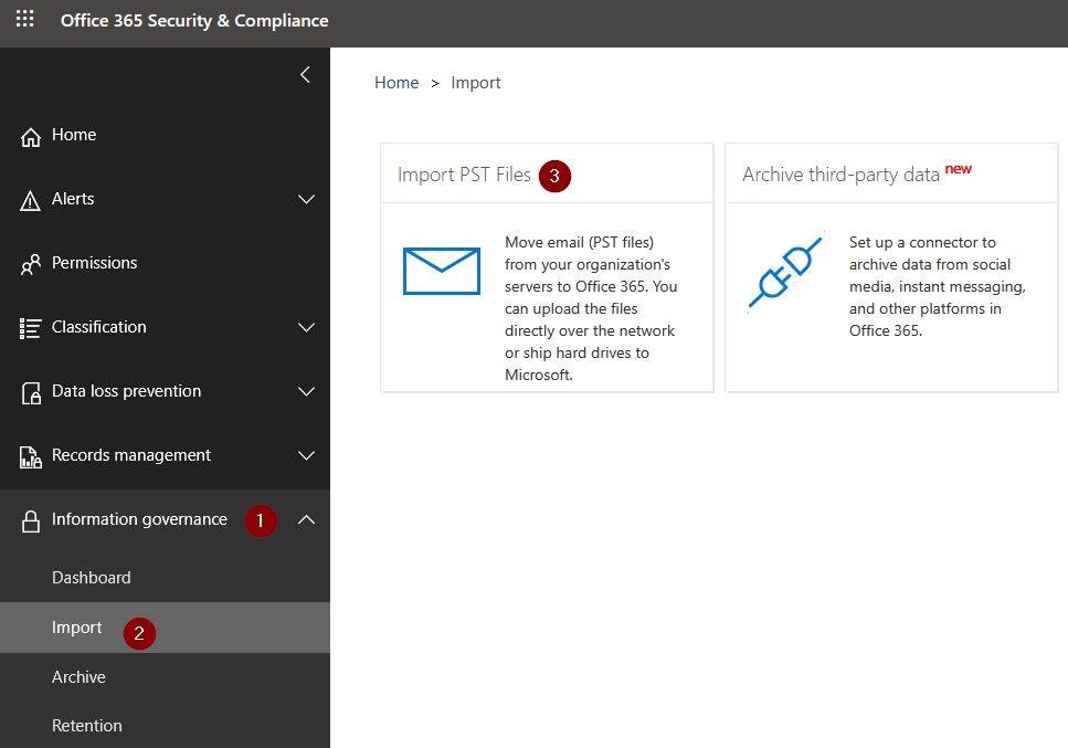Importar archivos PST en Office 365 con AzCopy