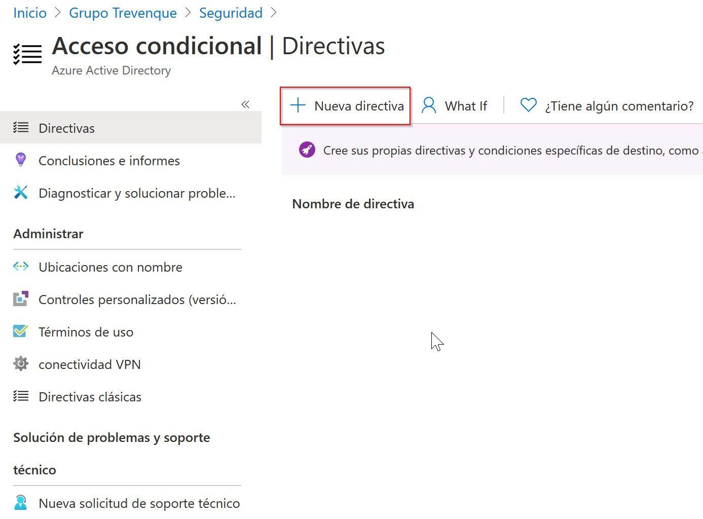 Directivas de acceso condicional